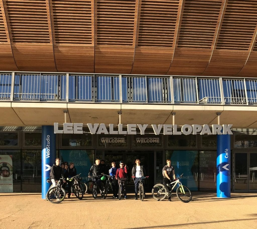 The students pictured outside the Lee Valley Velopark after raising money for new facilities