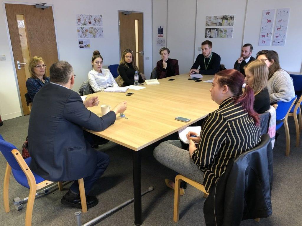 Robert Halfon talks to Harlow College journalism students