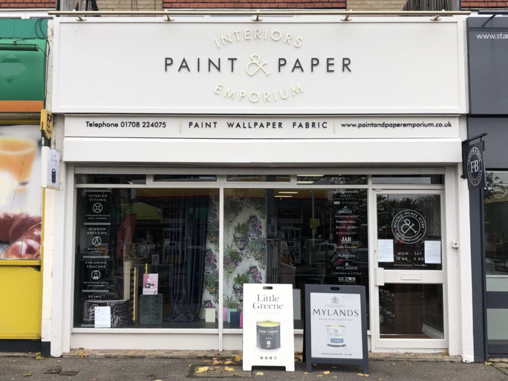 Our photo shows Julie London's 'Paint & Paper Emporium' in Upminster, Essex.