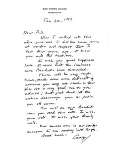 Letter from Bush to Clinton